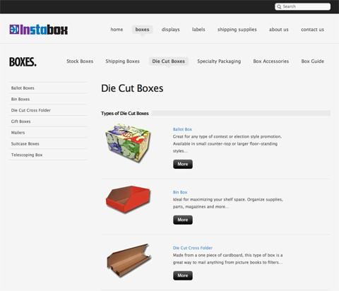 یک مثال برای ناوبری در طراحی وب سایت تجارت الکترونیک
