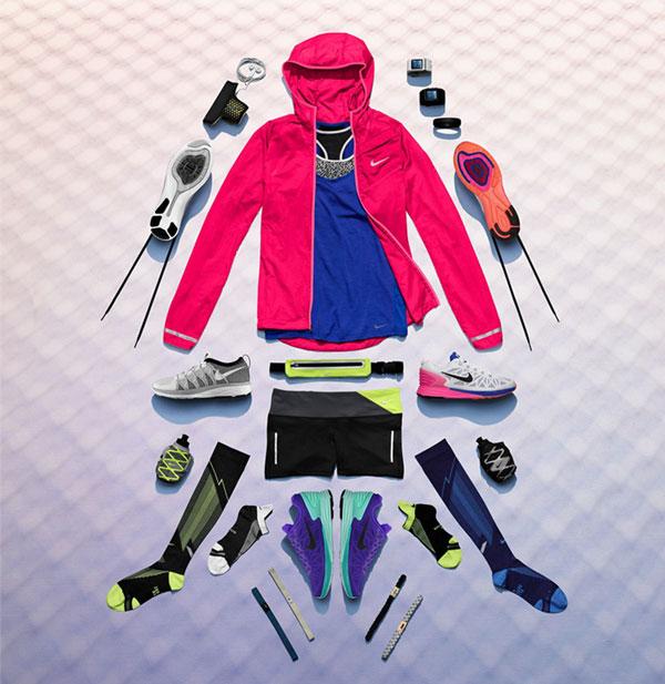 نمونه تصویر گروهی از برند نایکی که البسهی ورزشی را در کنار هم قرار داده، این نمونه در عکاسی برای فروش محصولات آنلاین استفاده میشود