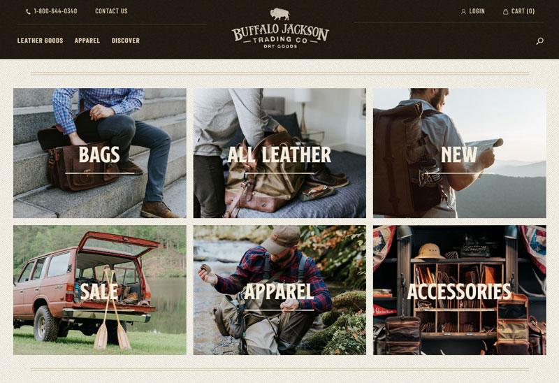 عکس از وبسایت buffalojackson که یکی از نمونههای خوش ساخت فروشگاه اینترنتی لباس موفق است.