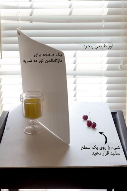 نمونهی ایجاد لایت باکس با نور طبیعی برای عکاسی از محصول